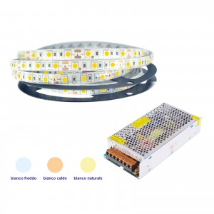 KIT 5050 STRIP LED STRISCIA 5 MT LUCE FREDDA CALDA CON ALIMENTATORE 12V 10A