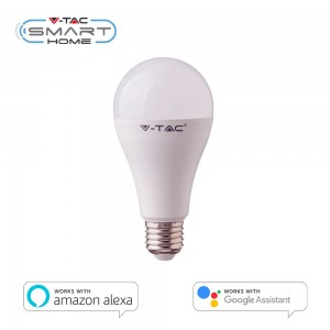 LAMPADINA E27 15W WiFi SMART LED RGB+W DIMMERABILE V-TAC SAMSUNG APP AMAZON ALEXA GOOGLE HOME